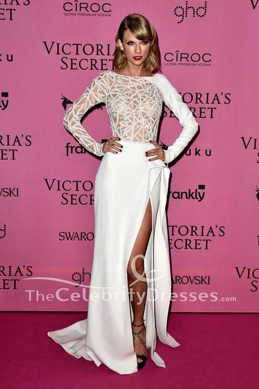 Taylor Swift White Hollow Thigh-high Slit Backless Evening Dress ...