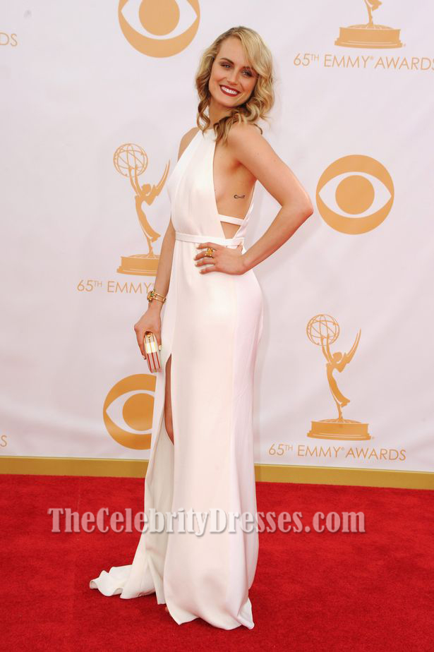Taylor Schilling White Prom Dress 2013 Emmy Awards Red Carpet - TheCelebrityDresses