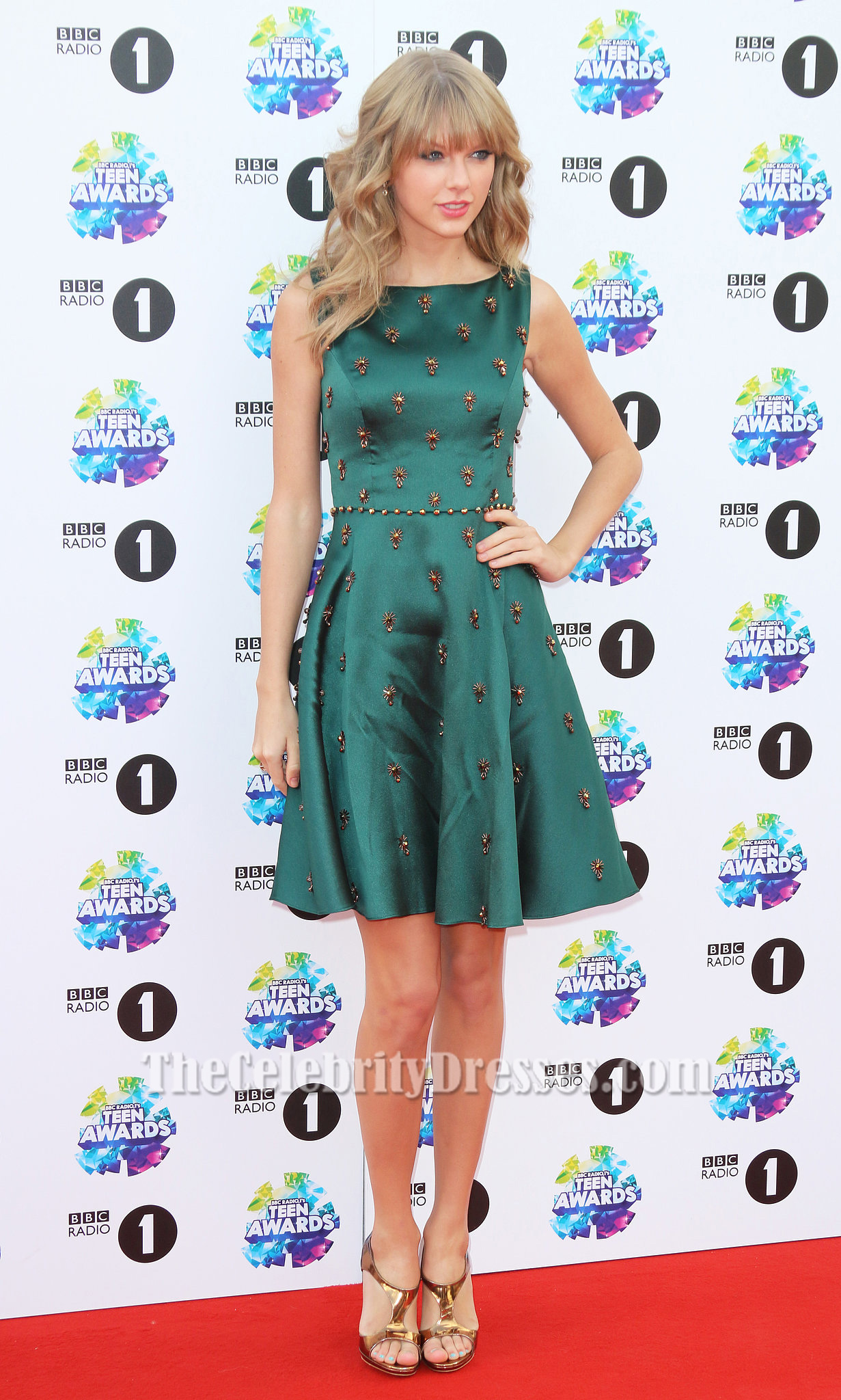 Taylor Swift Dark Green Beaded Cocktail Party Dress Teen Awards 2013 ...