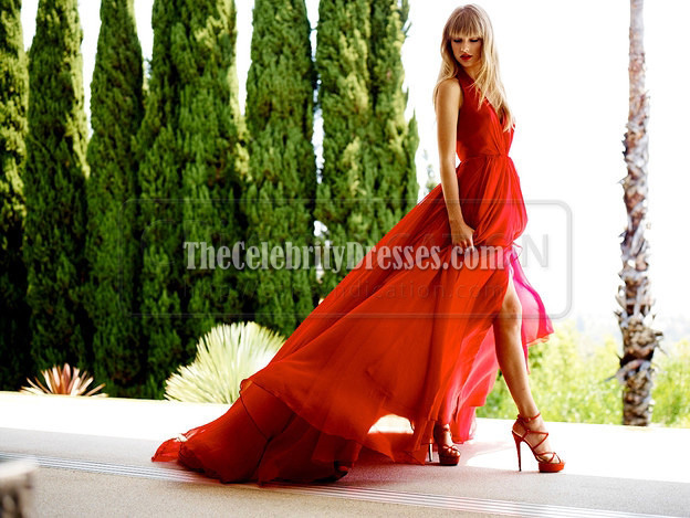 1a8f5a16e0 Taylor Swift Red Halter Prom Evening Dress Cover of Delta Sky magazine -  TheCelebrityDresses