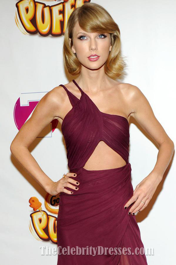 Taylor Swift Short Burgundy Cocktail Dress Z100\'s Jingle Ball ...