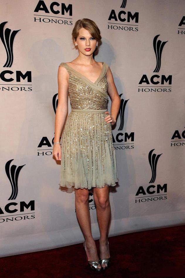 Taylor Swift Short V Neckline Gold Sequin Cocktail Dress Party ...