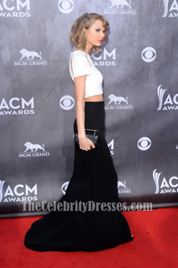 Taylor Swift White And Black Formal Dress 2014 Acm Awards Red Carpet