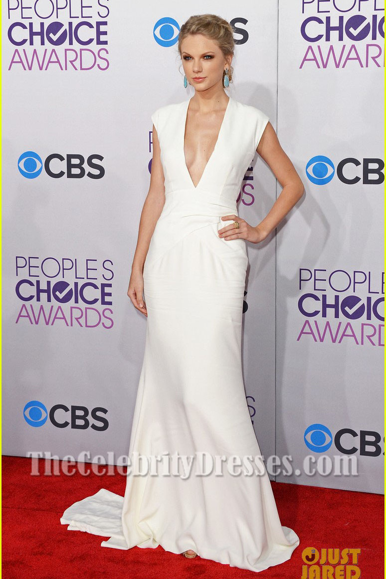 Taylor Swift Weiß V-Ausschnitt Ballkleid 2013 People\'s Choice ...