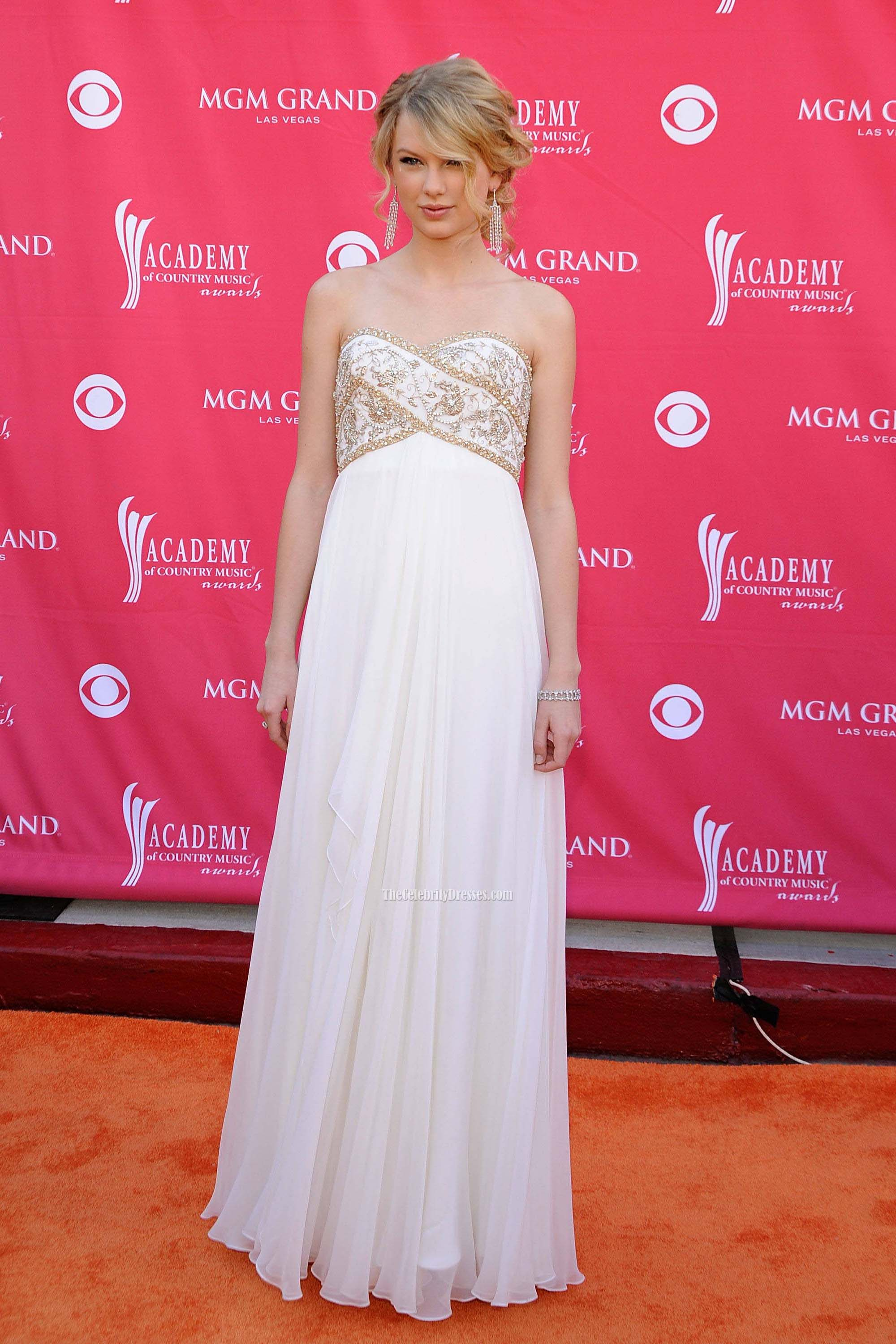 Taylor Swift White Strapless Beaded Prom Gown Evening Formal Dress ...