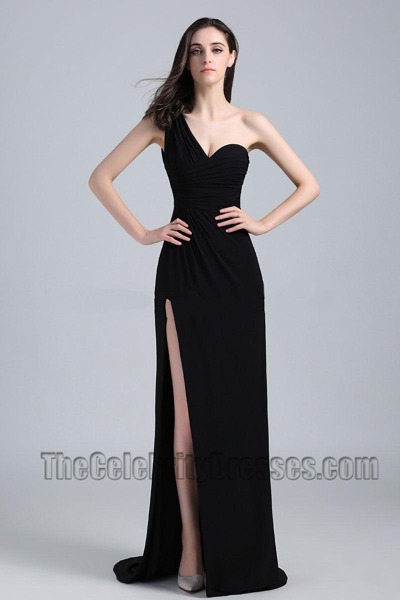 Jennifer Aniston Black One Shoulder Prom Dress 2010 Golden