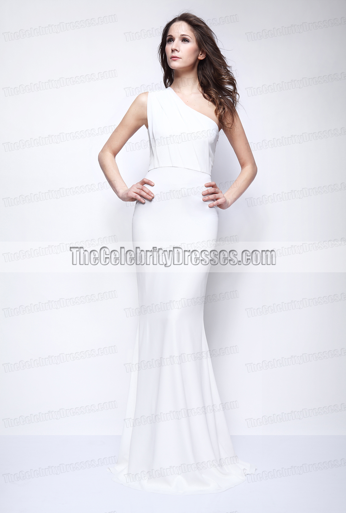 Kate Beckinsale White One Shoulder Prom Dress Evening Gown ...
