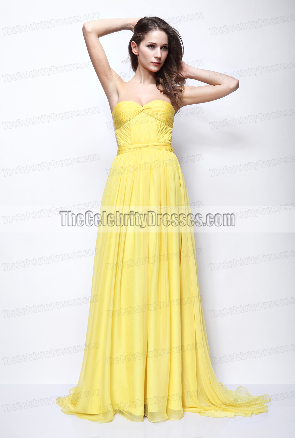 ad6afbcc0d Vanessa Hudgens Yellow Strapless Prom Gown Formal Dress Journey 2 Premiere  - TheCelebrityDresses