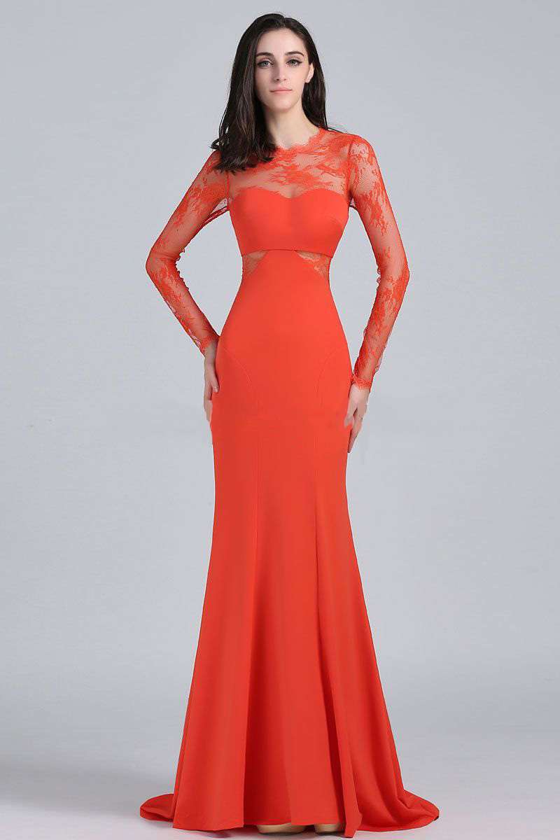 Louise Roe Orange Spitze Abendkleid 2014 Golden Globe Awards Roter ...