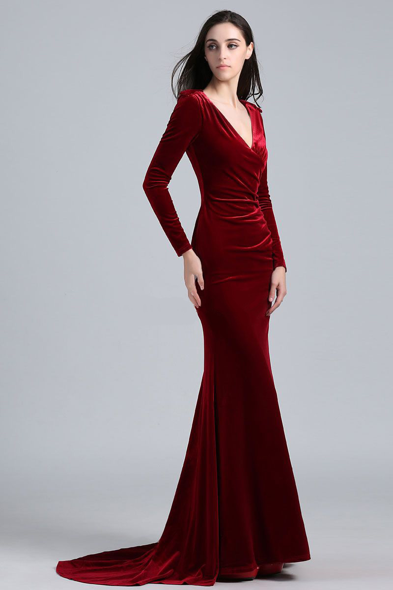 Long velour dress