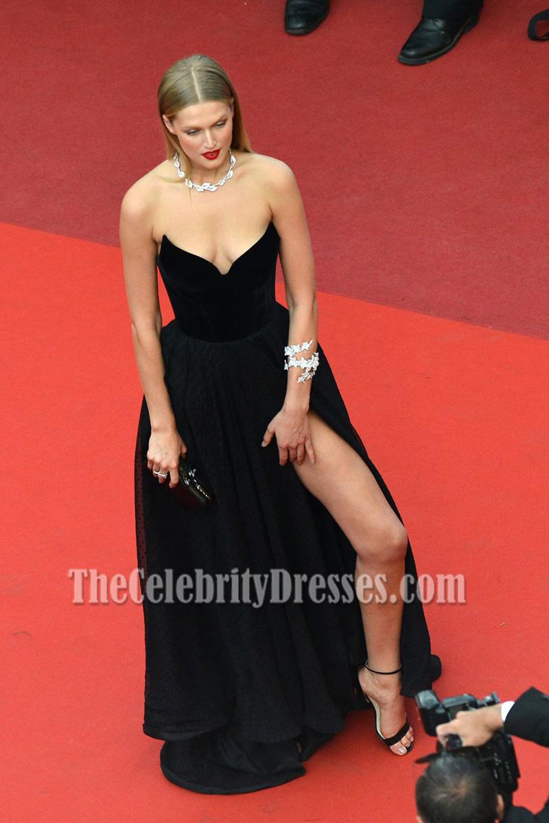 Toni Garrn Black Strapless Thigh Baring Slit Formal Dress 69th