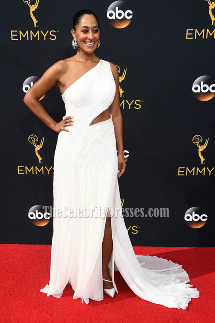 Tracee Ellis Ross White One Shoulder Chiffon Evening Dress Emmys Red