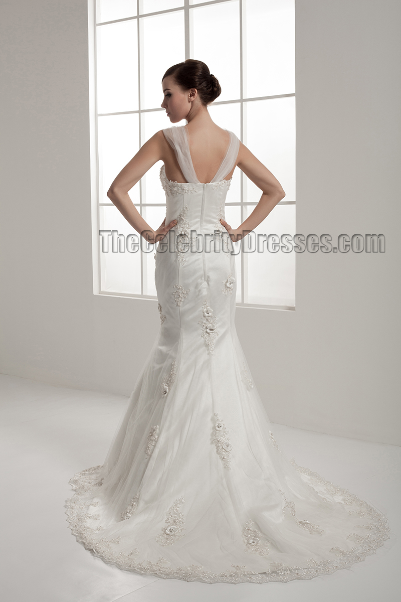 Trumpet Mermaid Embroidered Tulle Wedding Dresses