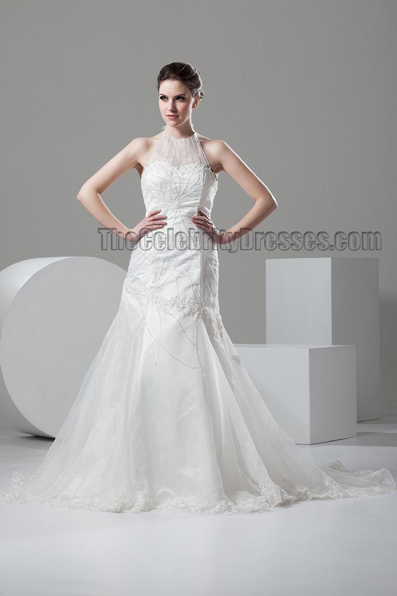 Trumpet mermaid halter beaded wedding dresses gowns for Beaded trumpet wedding dress