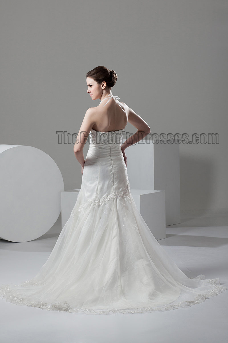 Trumpet mermaid halter beaded wedding dresses gowns for Mermaid halter wedding dresses