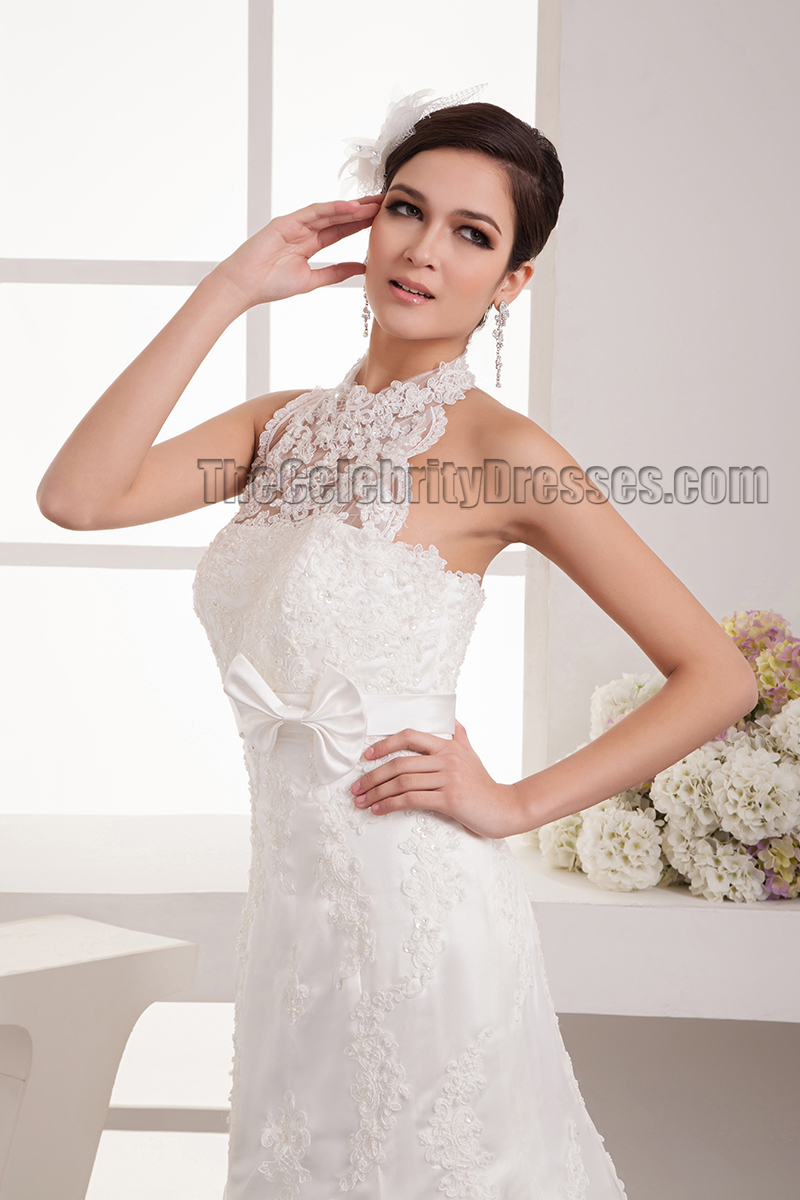 Trumpet/Mermaid Halter Lace Sweep Brush Train Wedding Dresses ...