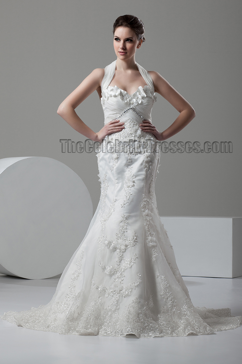 Trumpet mermaid halter sweep brush train wedding dress thecelebritydresses for Mermaid halter wedding dresses