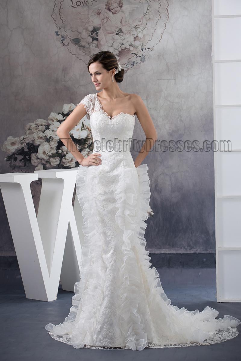 Trumpet/Mermaid One Shoulder Lace Sweep/Brush Train Wedding Dress    TheCelebrityDresses