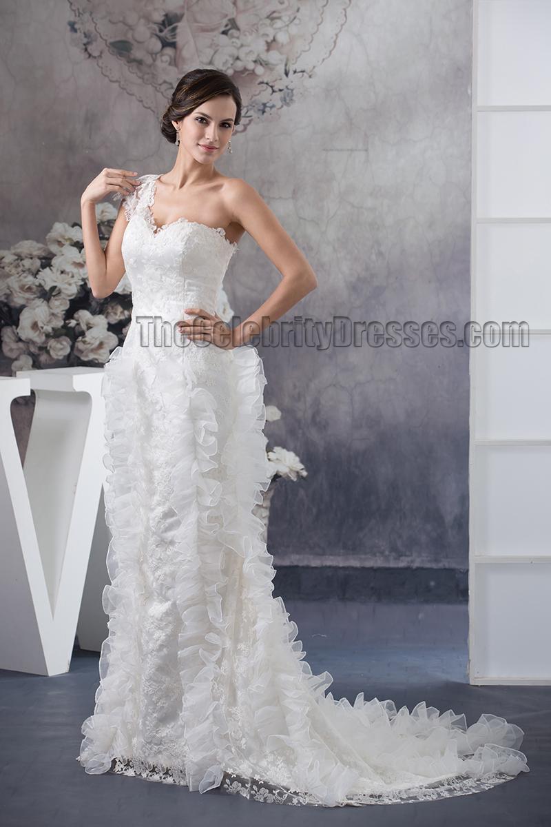 Trumpetmermaid One Shoulder Lace Sweepbrush Train Wedding Dress