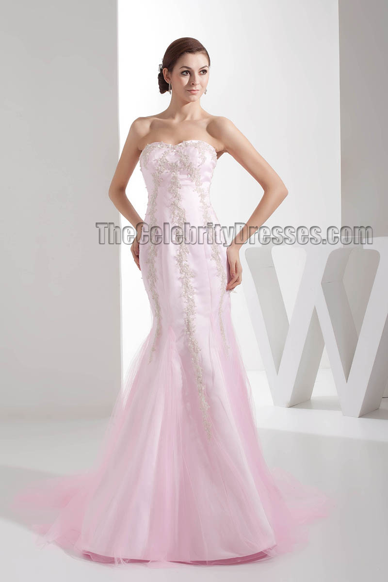 Trumpet Mermaid Pink Strapless Sweetheart Embroidered Wedding Dress