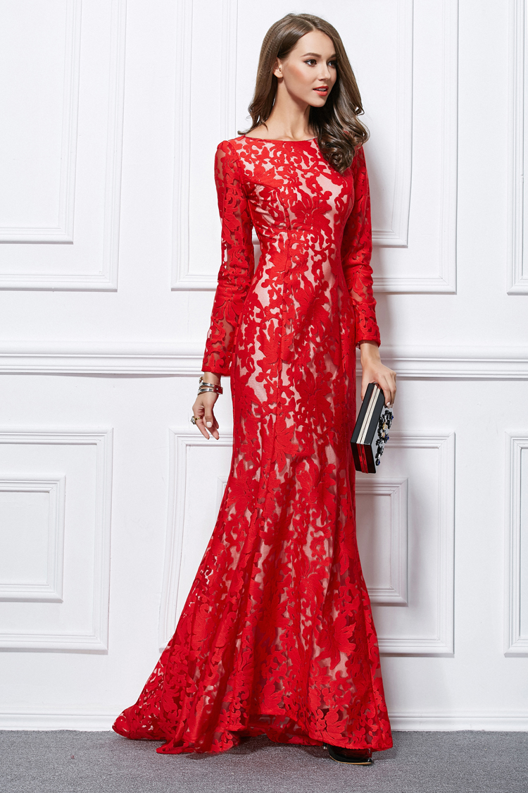 Trumpet Mermaid Red Lace Long Sleeve Formal Evening Dresses ...