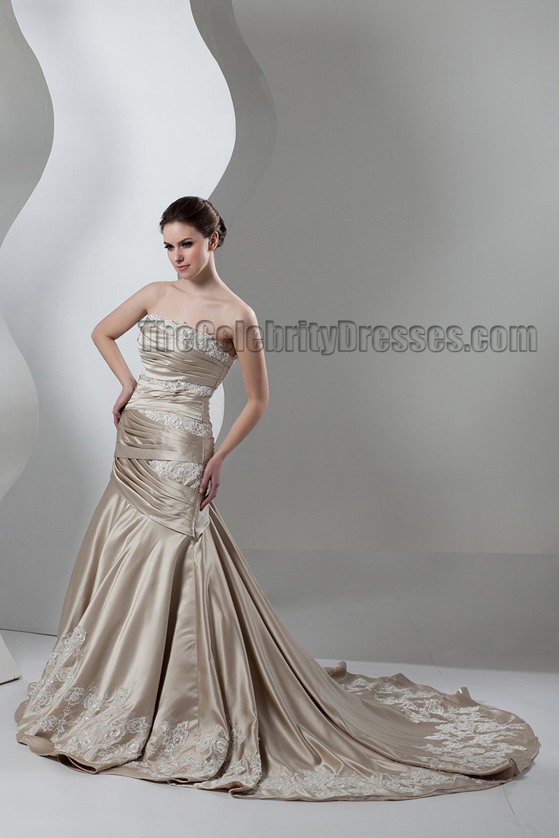 Trumpet Mermaid Strapless Champagne Formal Wedding Dresses