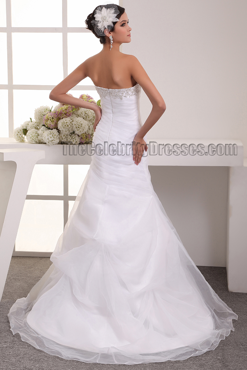 Trumpet Mermaid Strapless Embroidered Wedding Dress Bridal