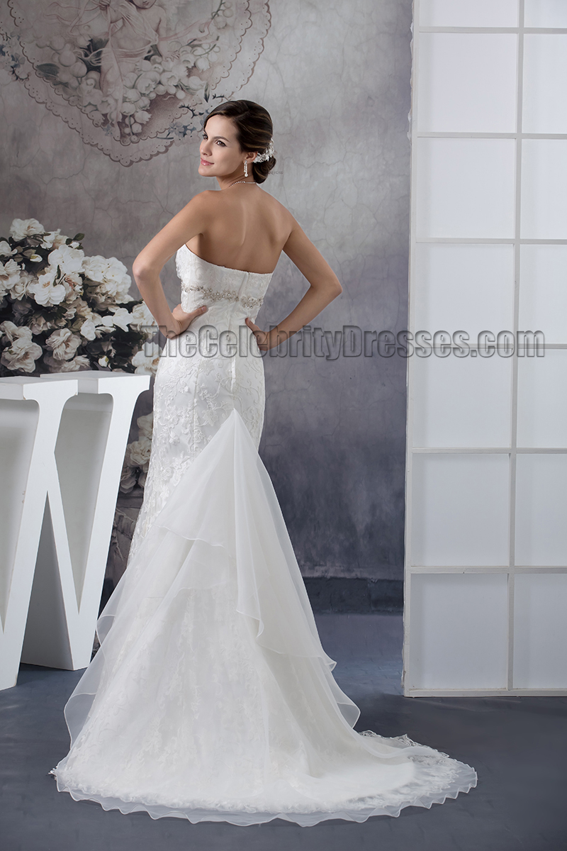 Trumpet mermaid strapless lace beaded wedding dresses for Beaded trumpet wedding dress
