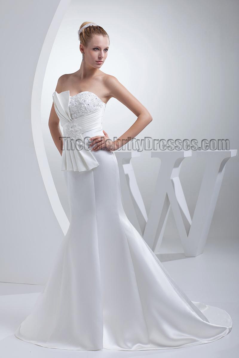 Elegant trumpet mermaid strapless satin wedding dresses for Elegant satin wedding dresses