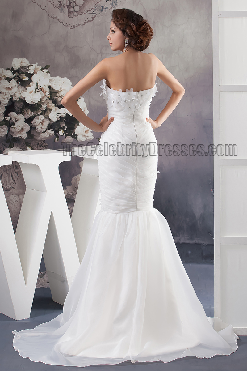 Trumpet mermaid strapless sweep brush train wedding for Sweep train wedding dress