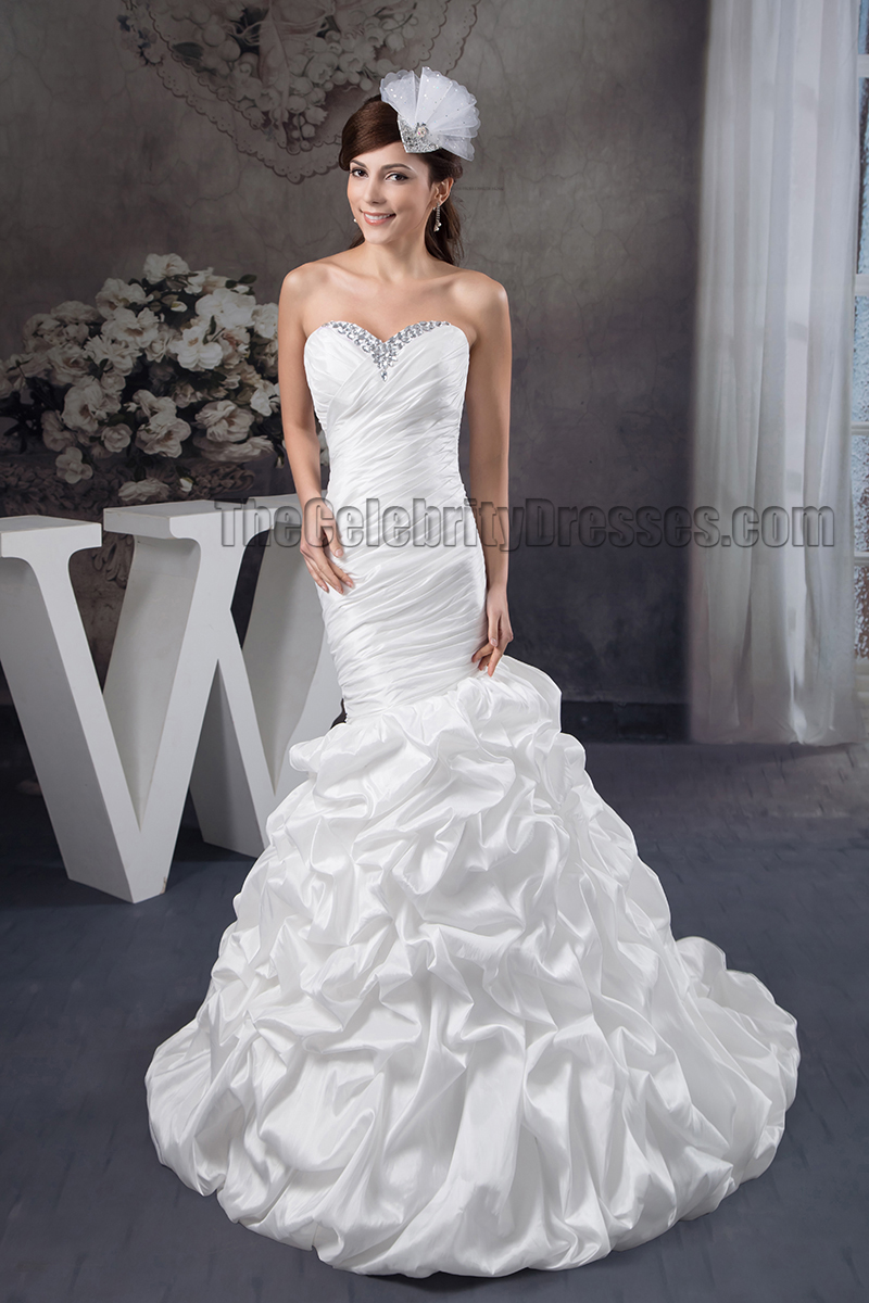 Trumpet mermaid strapless sweetheart beaded ruffles for Sweetheart halter wedding dress