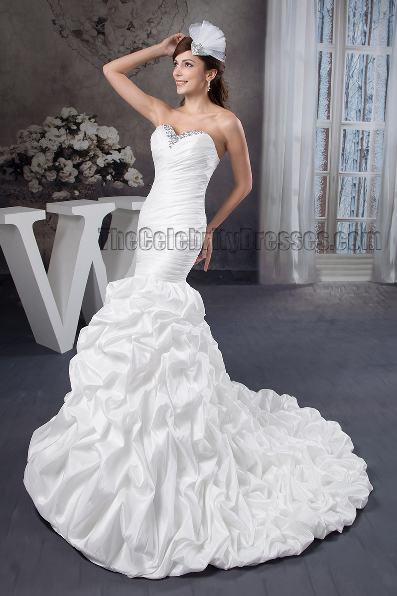 Trumpet mermaid strapless sweetheart beaded ruffles for Mermaid wedding dress with ruffles