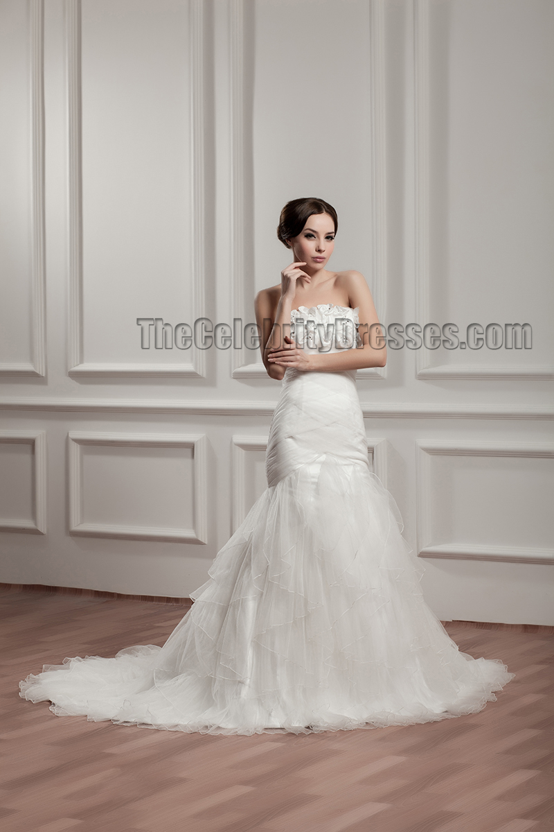 Trumpet Mermaid Strapless Tulle Wedding Dresses
