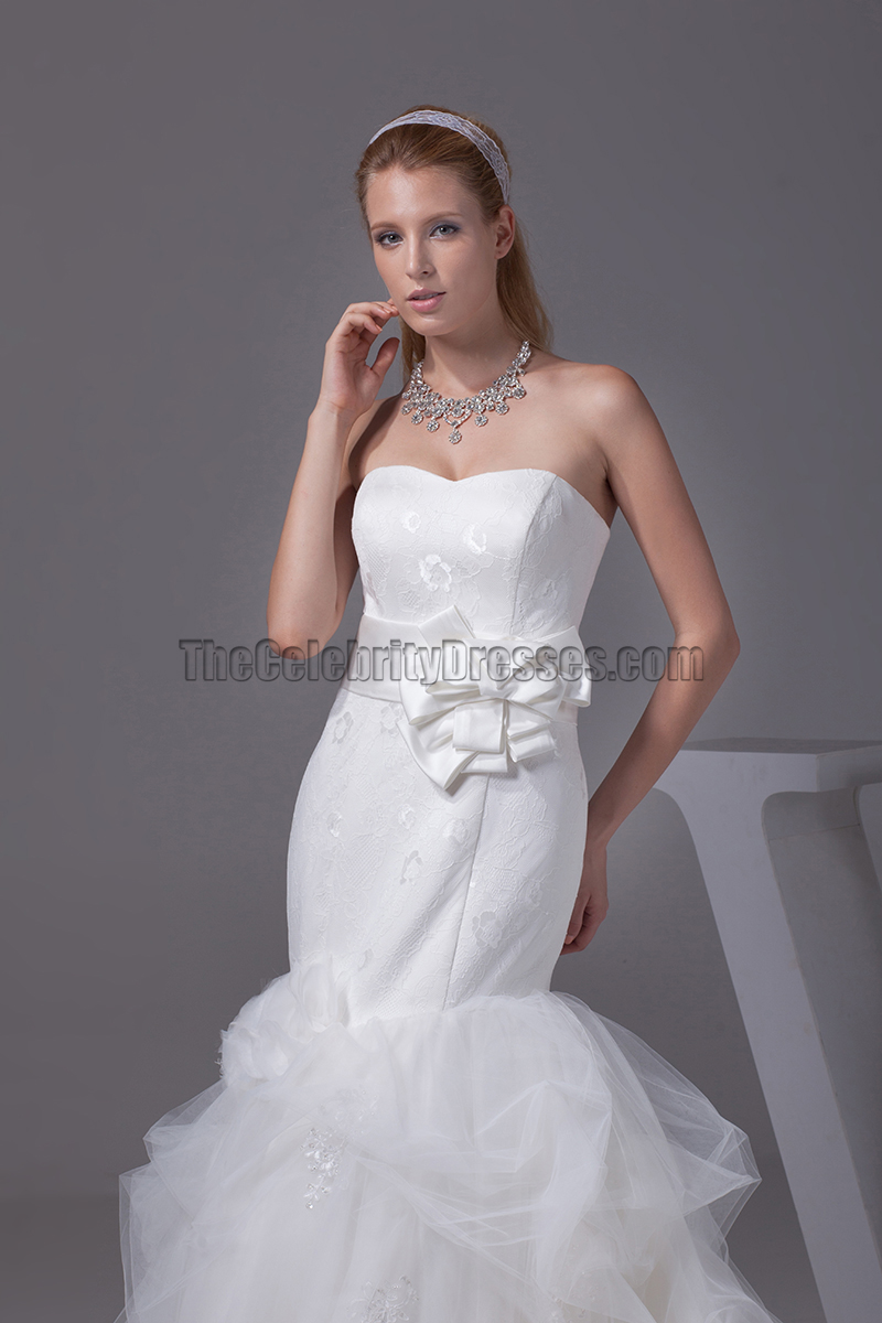 Trumpet mermaid sweetheart chapel train organza wedding for Organza trumpet wedding dress