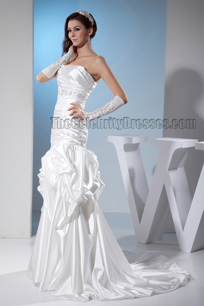 Trumpet/Mermaid Strapless Beaded Sweep/Brush Train Wedding Dress ...