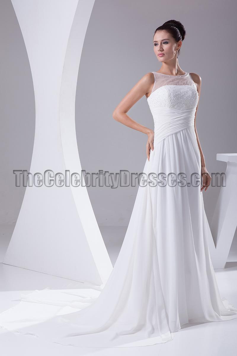 Tulle chiffon a line count train wedding dress for Chiffon tulle wedding dress