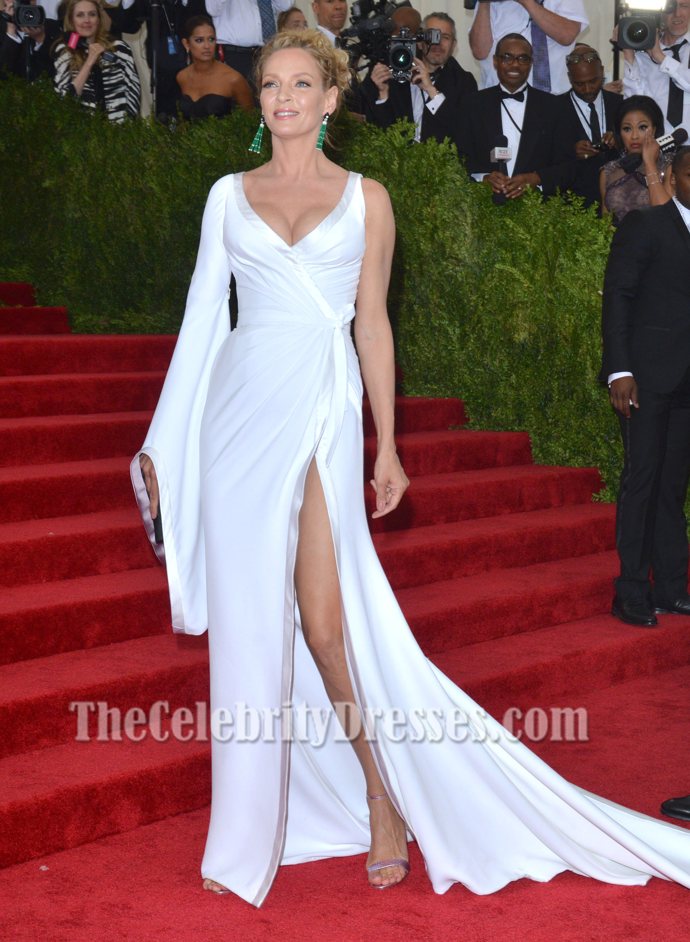 684286a7b20 UMA THURMAN White One Sleeve Evening Dress 2015 MET GALA Red Carpet Gown  TCD6919