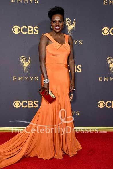 Viola Davis Orange Long Evening Dress e 2017 Emmy Awards Red ...