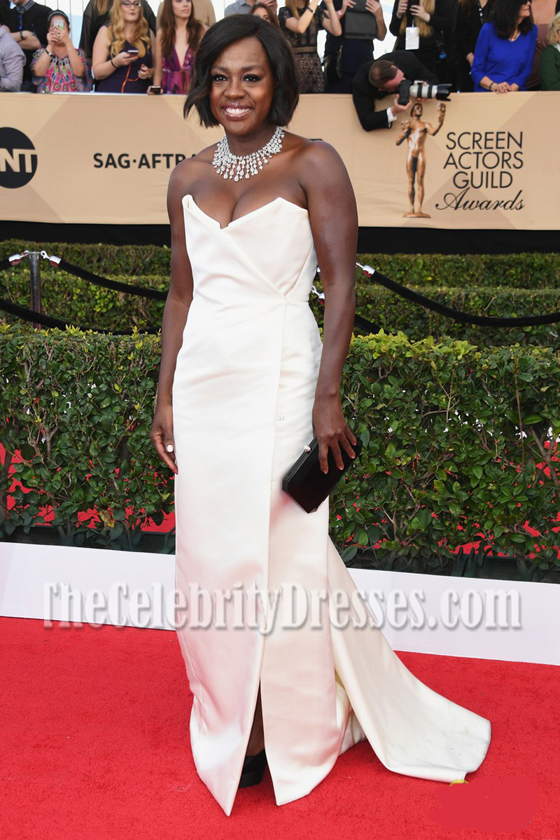 Viola Davis Ivory Strapless Evening Dress 2017 Sag Awards Thecelebritydresses