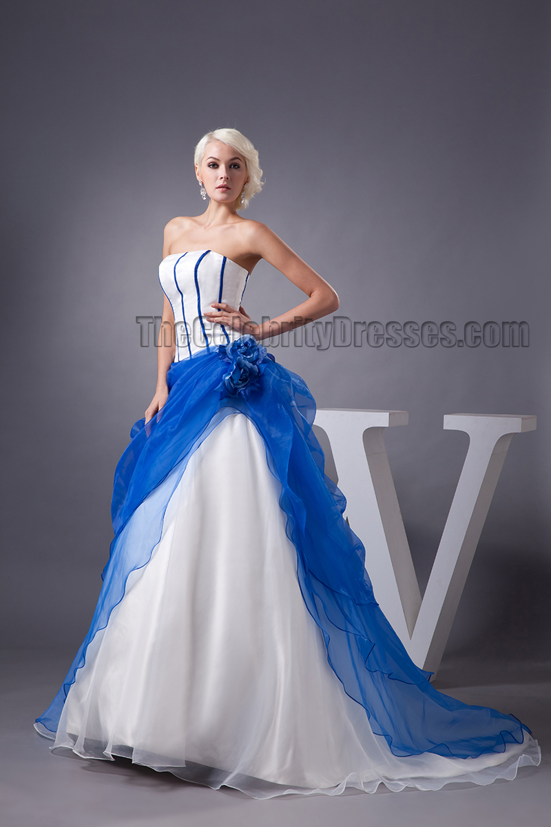 Celebrity Inspired Strapless Blue And White Formal Dress Prom Gown ...