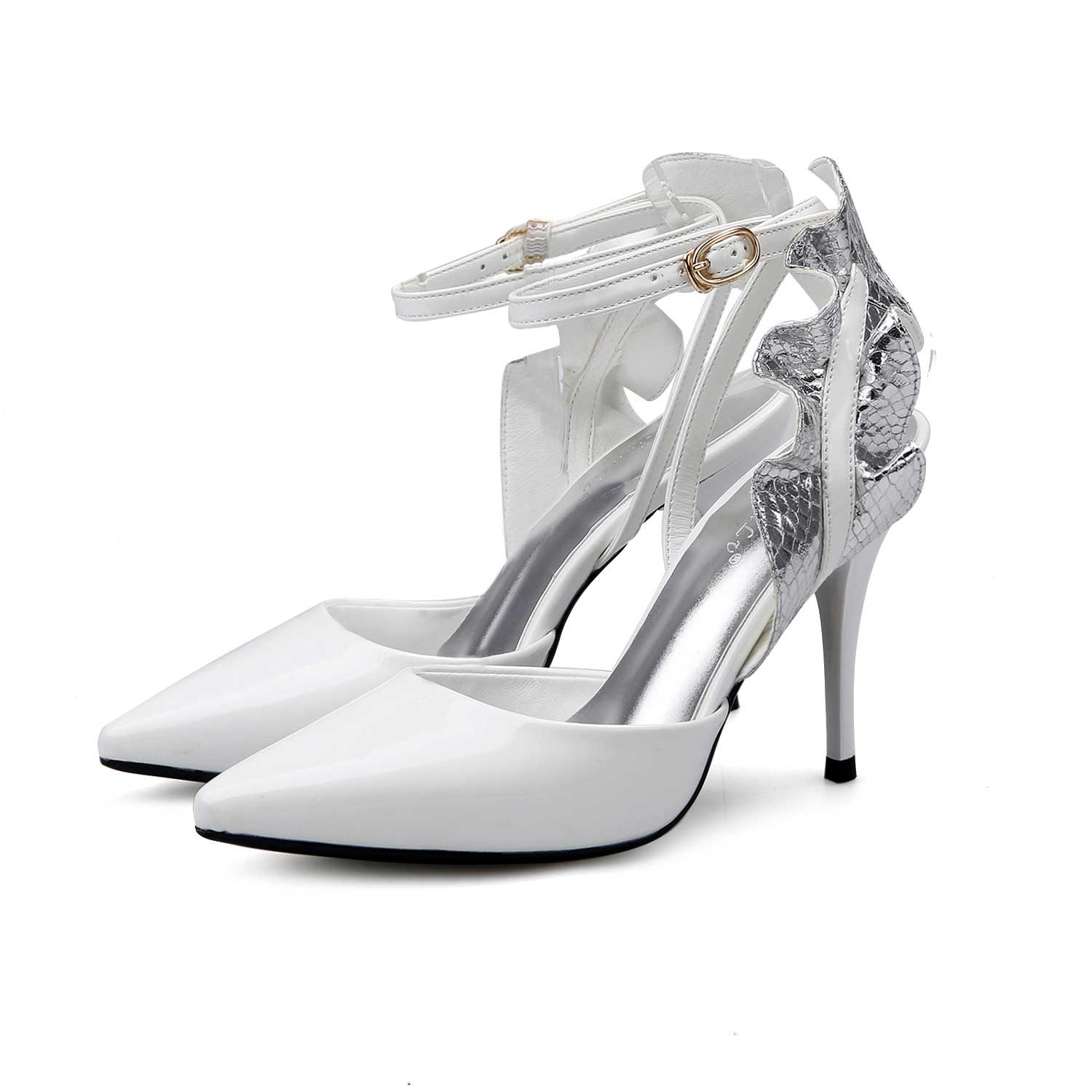 White Sexy Flower Pointed Toe Sandals Stiletto Heels With Ankle