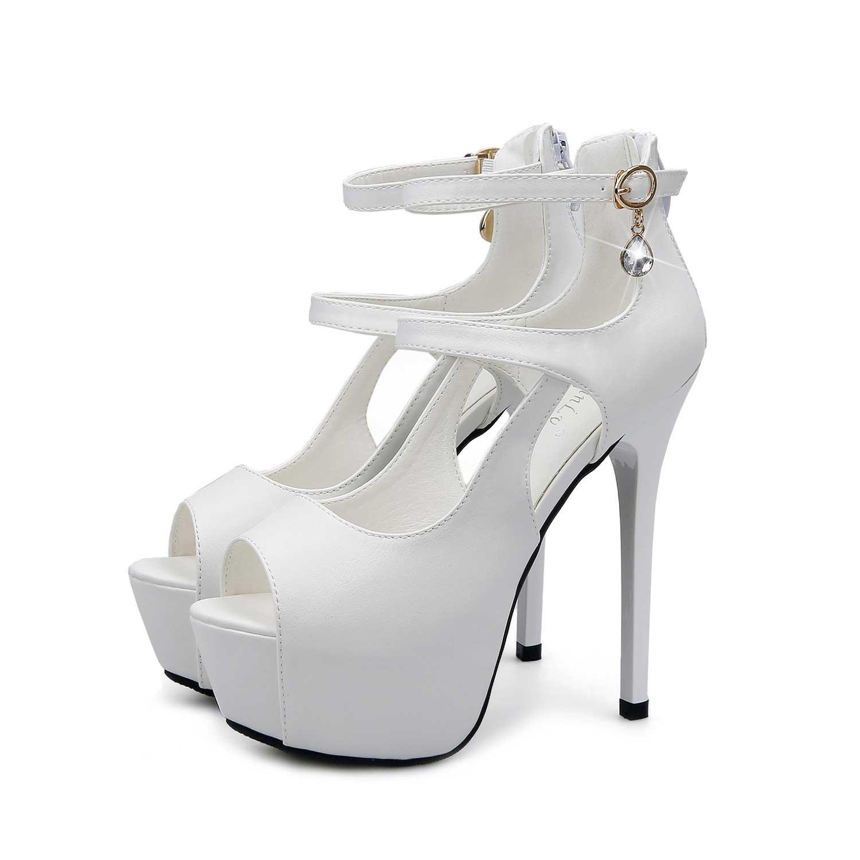 White Ankle Strap Pump Rhinestones Prom