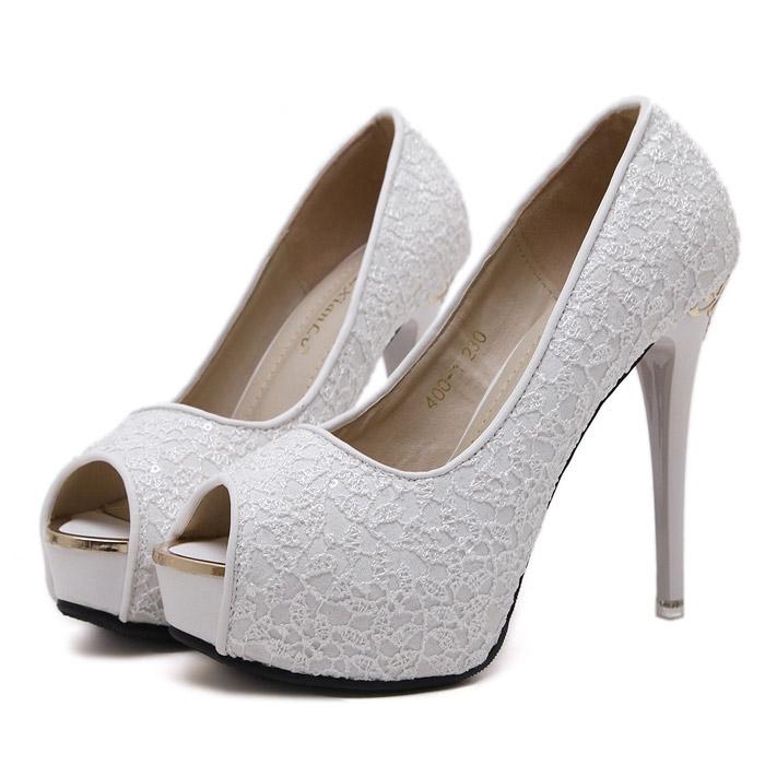 Cheap Wedding Heels: White Lace Wedding Women's Shoes Cheap Peep Toe Heels For