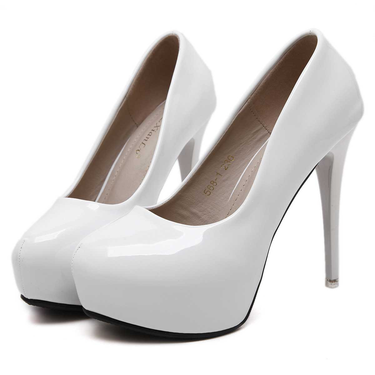 White Round Toe Women's Prom Shoes Stiletto Heels For ...