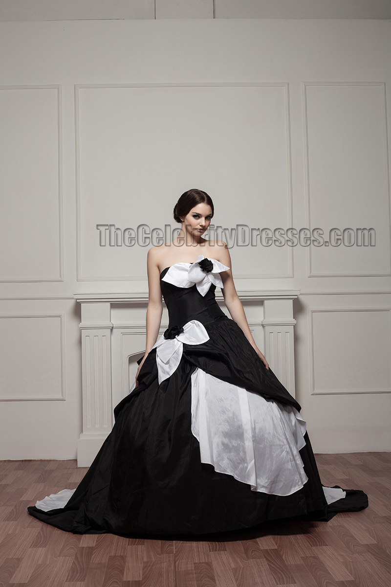 White And Black Strapless Ball Gown Wedding Dresses ...
