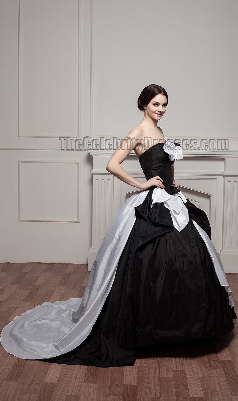 White and black ball gown wedding dress