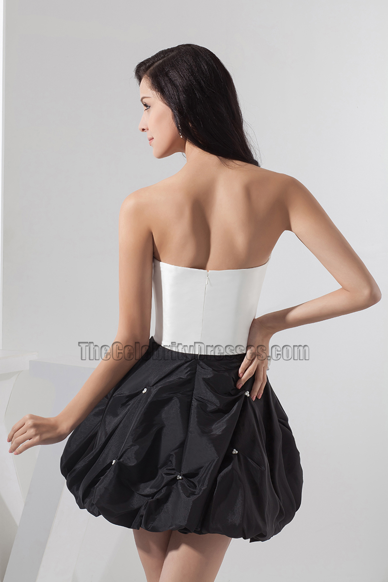 White and black strapless bubble skirt party homecoming for Bubble skirt wedding dress