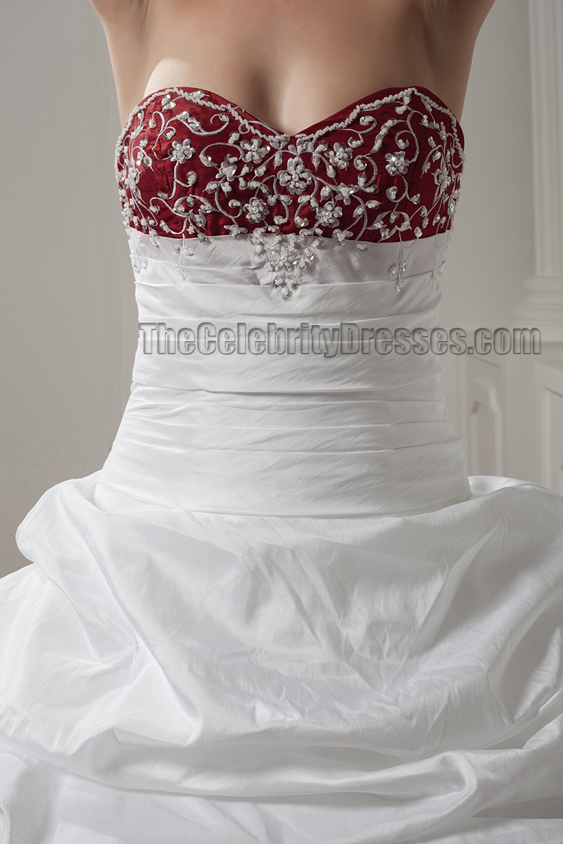 White And Burgundy Embroidered A Line Strapless Wedding
