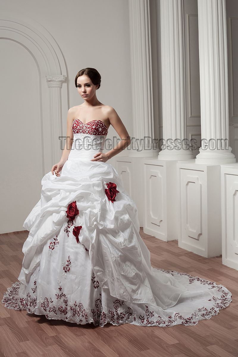 White And Burgundy Embroidered A-Line Strapless Wedding Dresses ...
