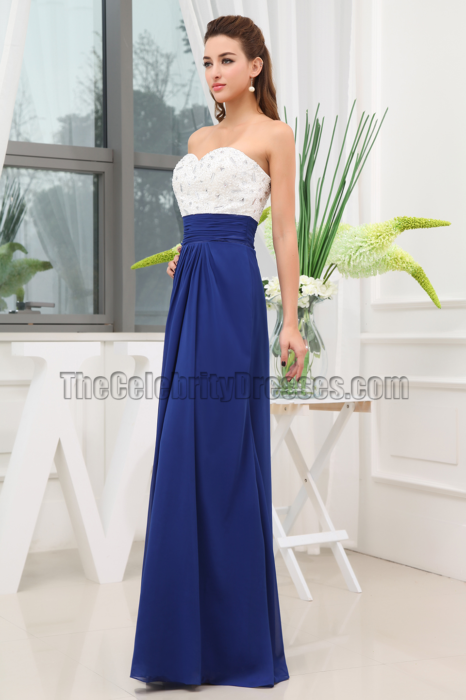 Strapless White And Royal Blue Evening Dresses Prom Gown ...